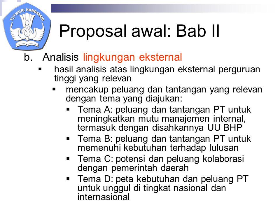 Proposal awal: Bab II Analisis lingkungan eksternal