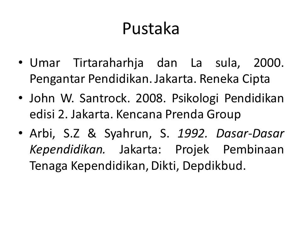 Pustaka Umar Tirtaraharhja dan La sula, 2000. Pengantar Pendidikan. Jakarta. Reneka Cipta