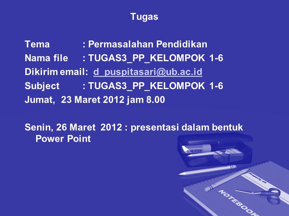 Tugas Tema : Permasalahan Pendidikan. Nama file : TUGAS3_PP_KELOMPOK 1-6. Dikirim email: d_puspitasari@ub.ac.id.