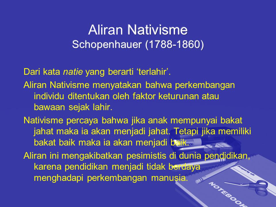 Aliran Nativisme Schopenhauer (1788-1860)