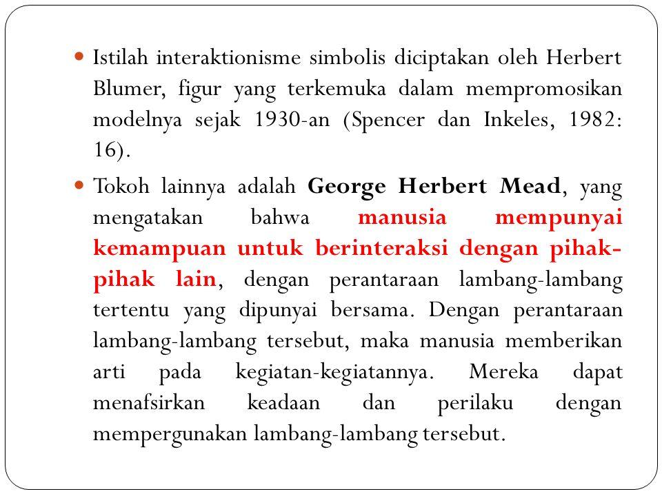 Istilah interaktionisme simbolis diciptakan oleh Herbert Blumer, figur yang terkemuka dalam mempromosikan modelnya sejak 1930-an (Spencer dan Inkeles, 1982: 16).