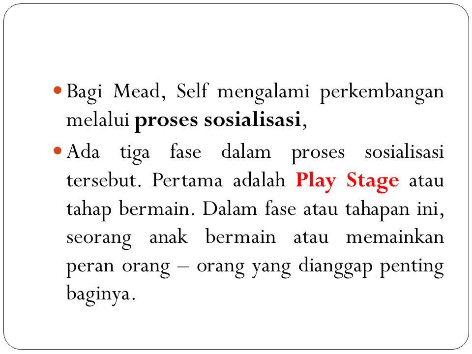 Bagi Mead, Self mengalami perkembangan melalui proses sosialisasi,