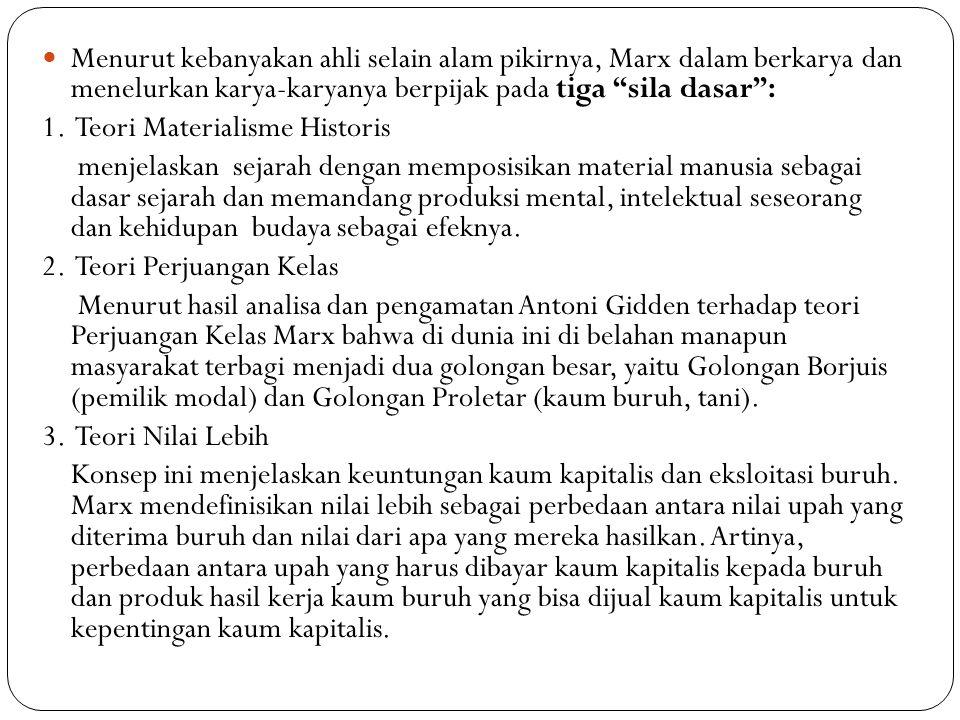 Menurut kebanyakan ahli selain alam pikirnya, Marx dalam berkarya dan menelurkan karya-karyanya berpijak pada tiga sila dasar :