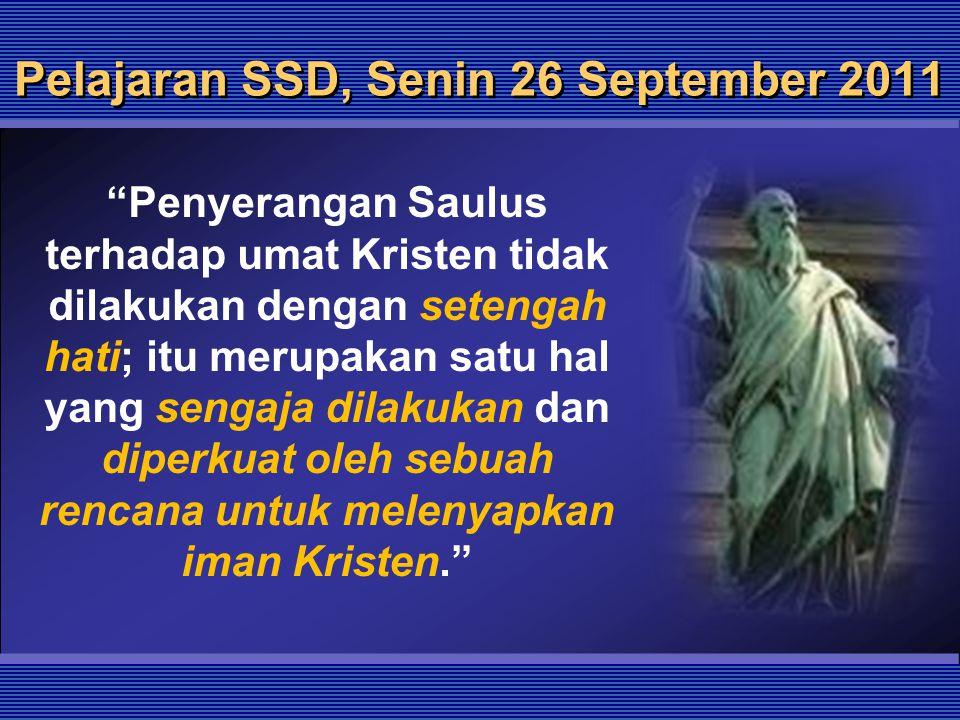 Pelajaran SSD, Senin 26 September 2011