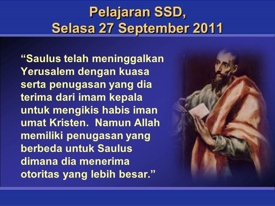 Pelajaran SSD, Selasa 27 September 2011