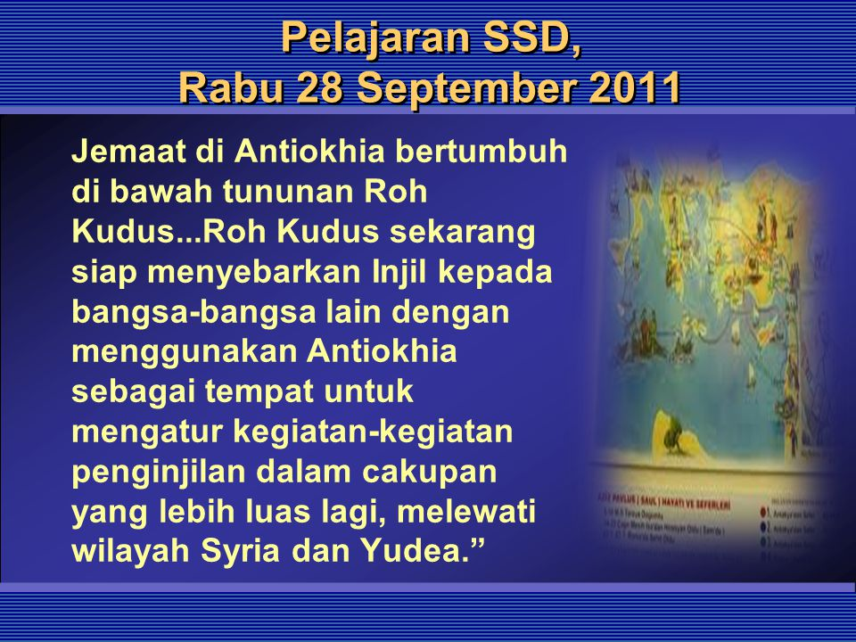 Pelajaran SSD, Rabu 28 September 2011
