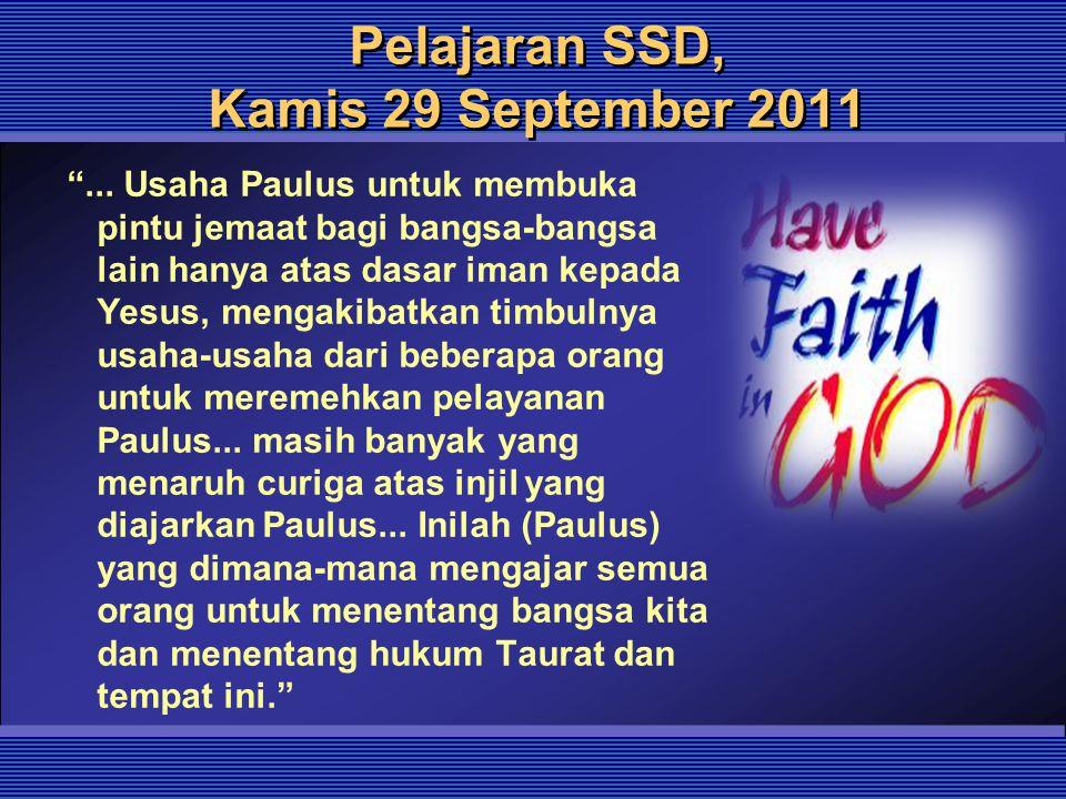Pelajaran SSD, Kamis 29 September 2011