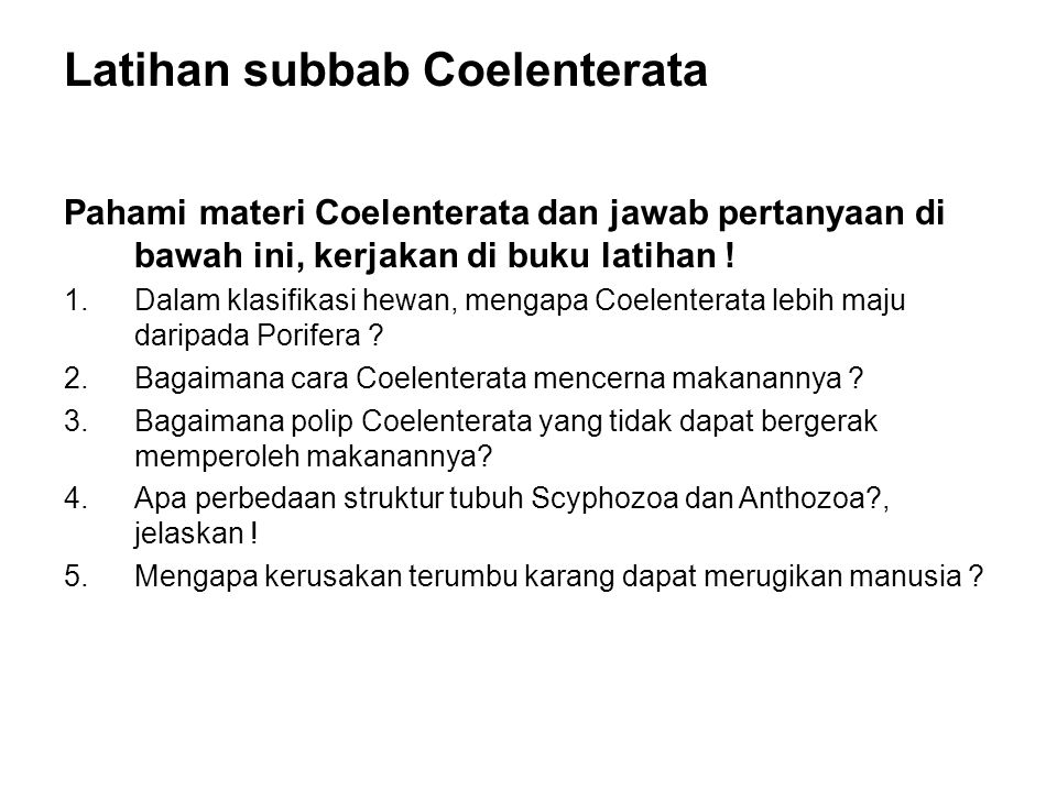 Latihan subbab Coelenterata