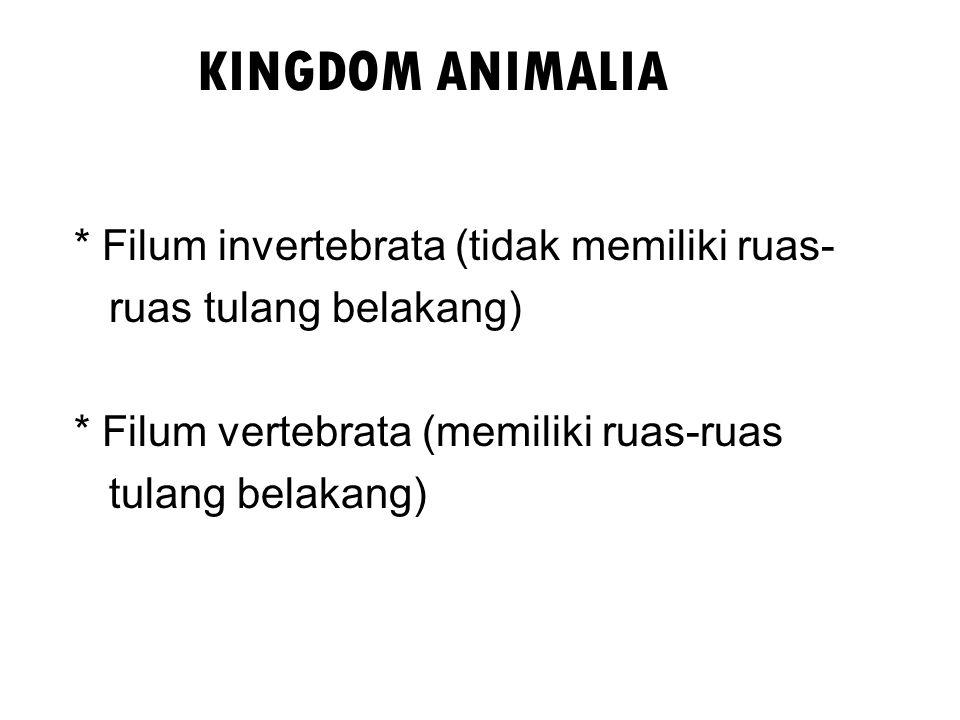 KINGDOM ANIMALIA * Filum invertebrata (tidak memiliki ruas-