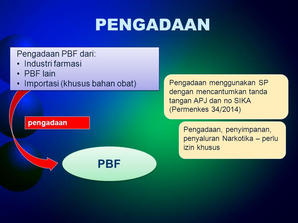 PENGADAAN PBF Pengadaan PBF dari: Industri farmasi PBF lain