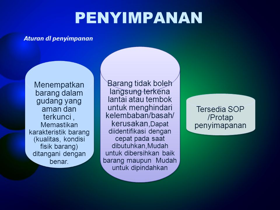 Tersedia SOP /Protap penyimapanan