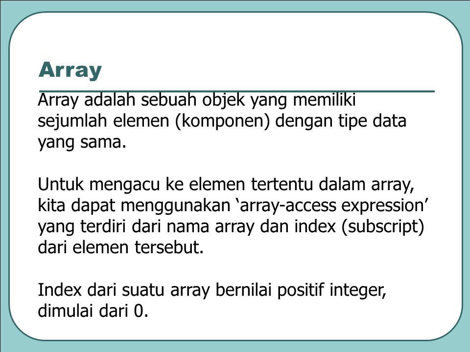 Array Array adalah sebuah objek yang memiliki sejumlah elemen (komponen) dengan tipe data yang sama.