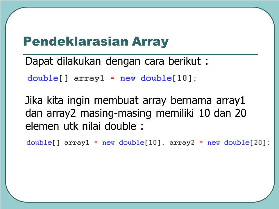 Pendeklarasian Array Dapat dilakukan dengan cara berikut :