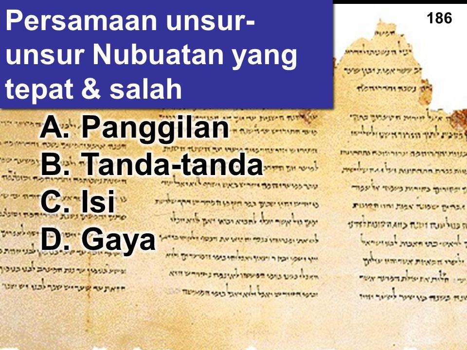 Persamaan unsur-unsur Nubuatan yang tepat & salah