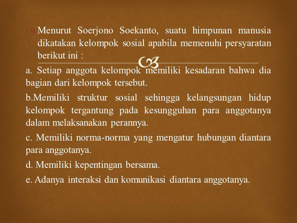 Menurut Soerjono Soekanto, suatu himpunan manusia dikatakan kelompok sosial apabila memenuhi persyaratan berikut ini :