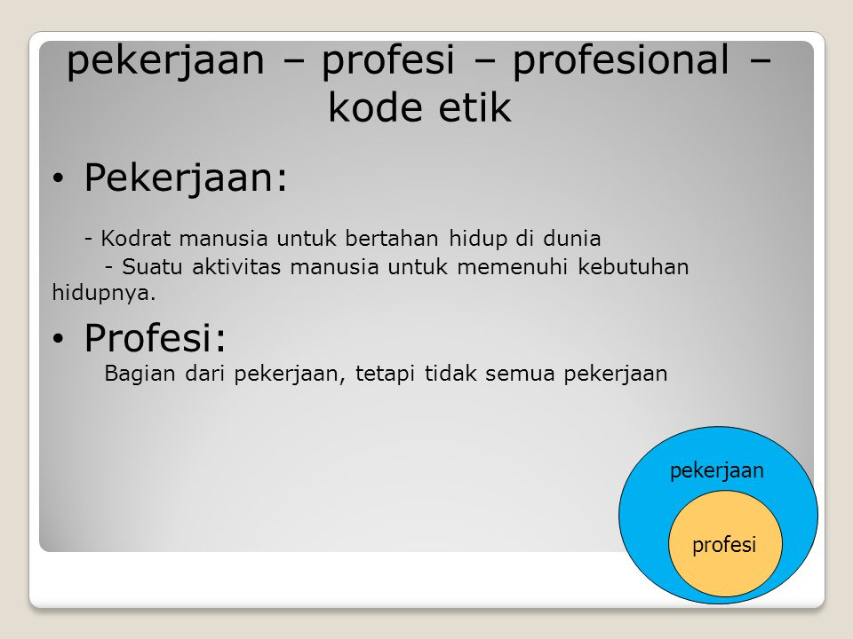 pekerjaan – profesi – profesional – kode etik