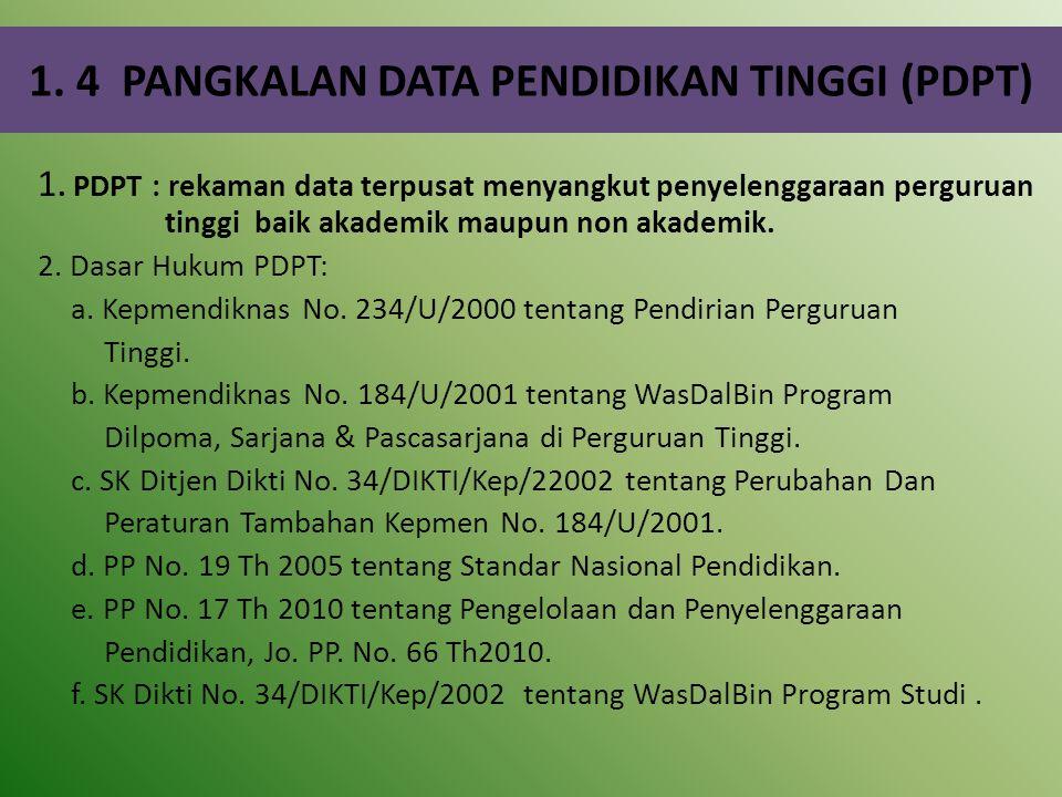 1. 4 PANGKALAN DATA PENDIDIKAN TINGGI (PDPT)