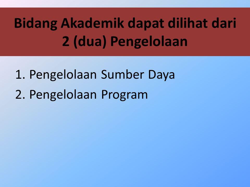 Bidang Akademik dapat dilihat dari 2 (dua) Pengelolaan
