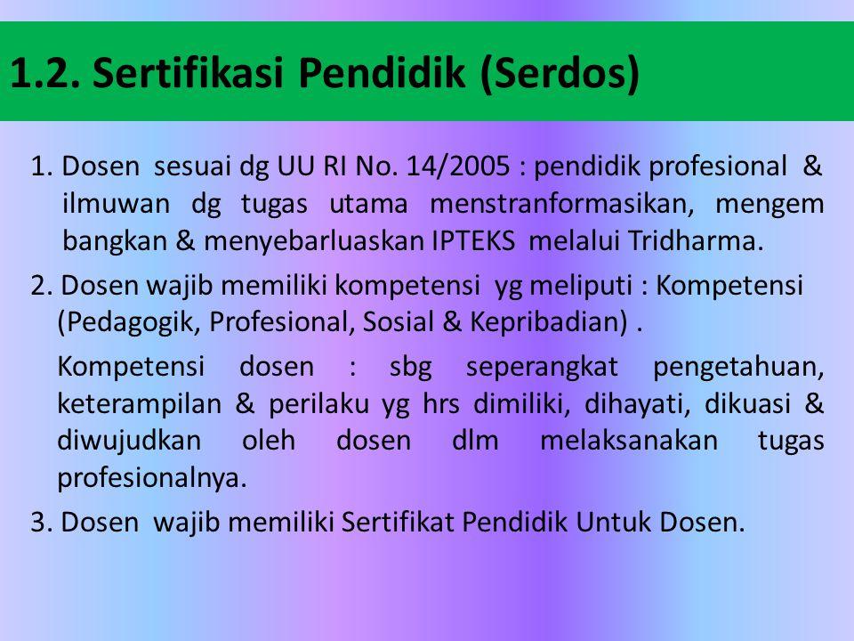 1.2. Sertifikasi Pendidik (Serdos)