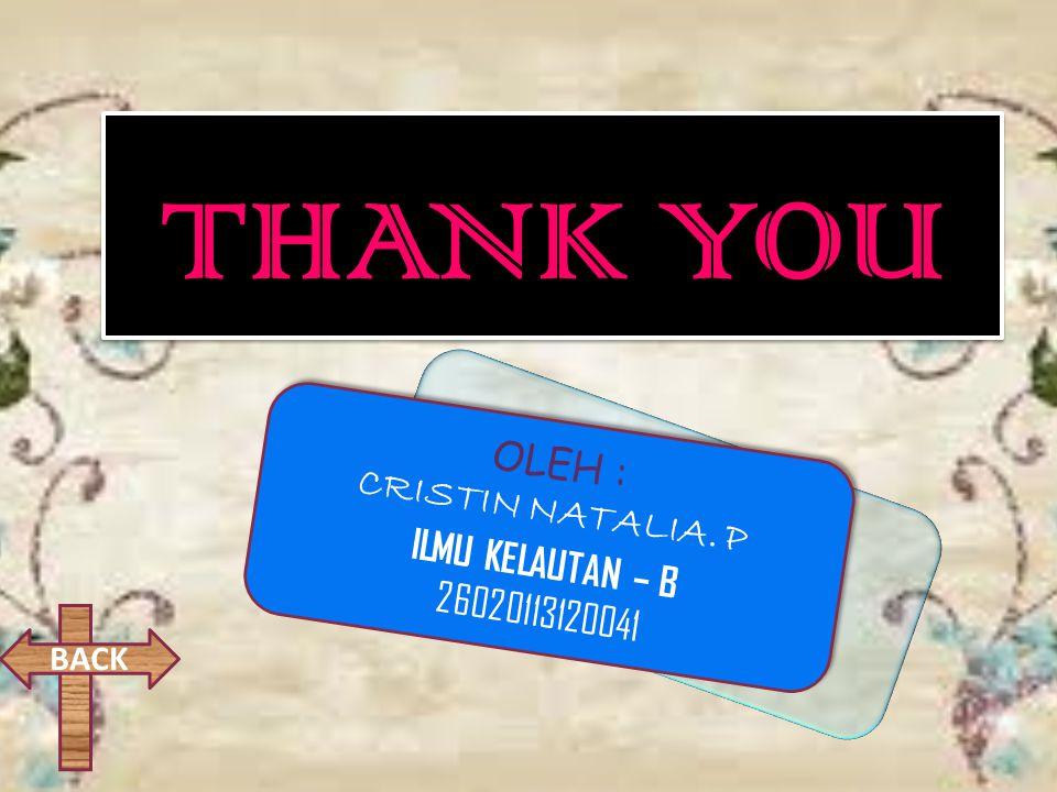 THANK YOU OLEH : CRISTIN NATALIA. P ILMU KELAUTAN – B 26020113120041