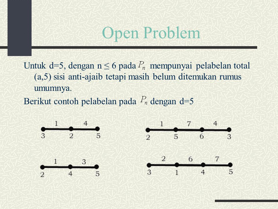 Open Problem Untuk d=5, dengan n ≤ 6 pada mempunyai pelabelan total (a,5) sisi anti-ajaib tetapi masih belum ditemukan rumus umumnya.