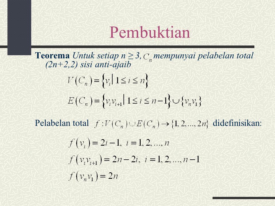 Pembuktian Teorema Untuk setiap n ≥ 3, mempunyai pelabelan total (2n+2,2) sisi anti-ajaib.
