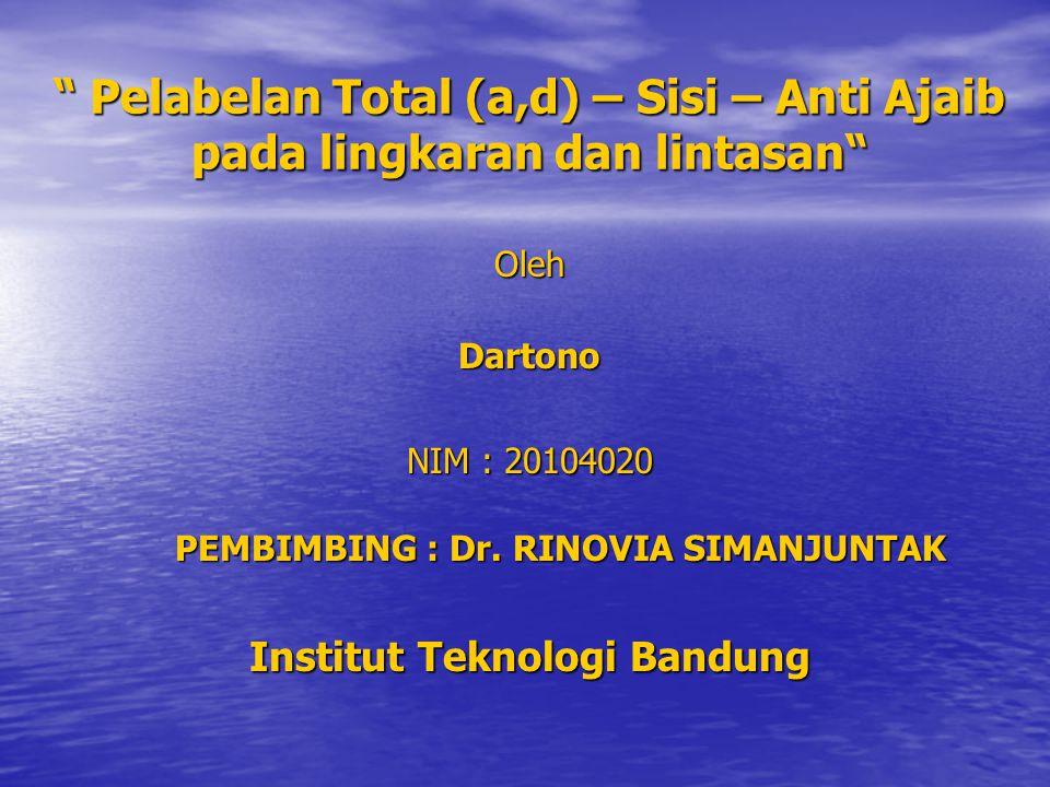 PEMBIMBING : Dr. RINOVIA SIMANJUNTAK Institut Teknologi Bandung