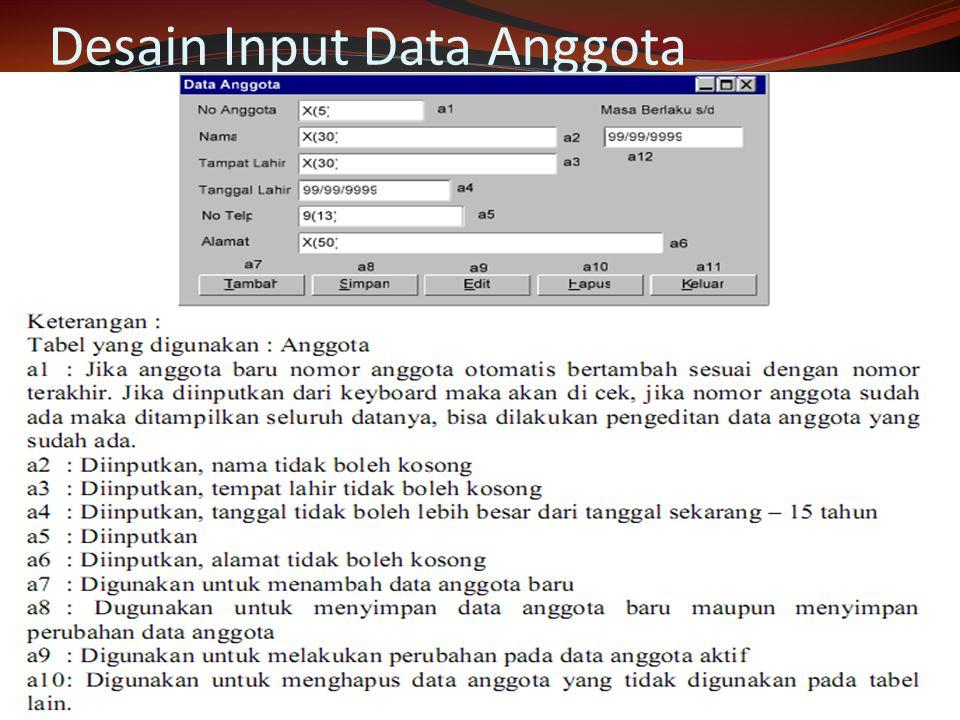 Desain Input Data Anggota
