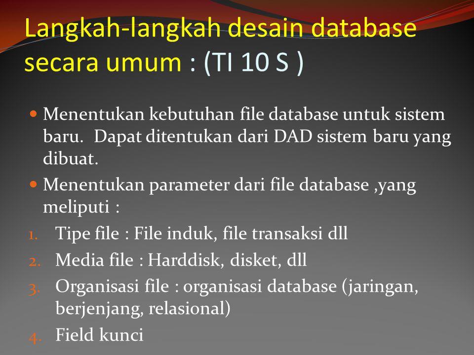 Langkah-langkah desain database secara umum : (TI 10 S )