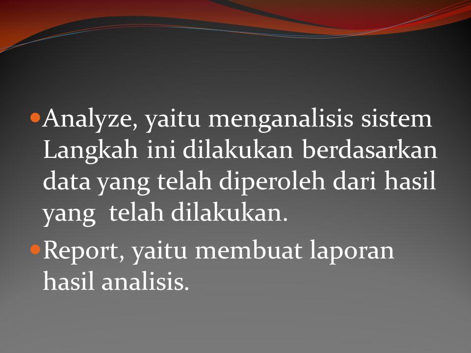 Analyze, yaitu menganalisis sistem Langkah ini dilakukan berdasarkan data yang telah diperoleh dari hasil yang telah dilakukan.