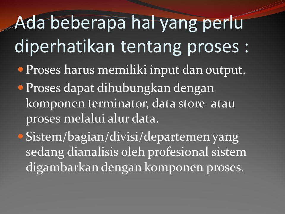 Ada beberapa hal yang perlu diperhatikan tentang proses :