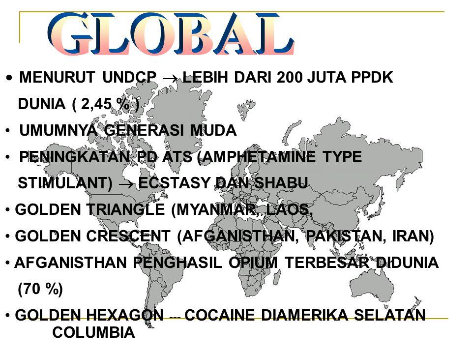 GLOBAL MENURUT UNDCP  LEBIH DARI 200 JUTA PPDK DUNIA ( 2,45 % )