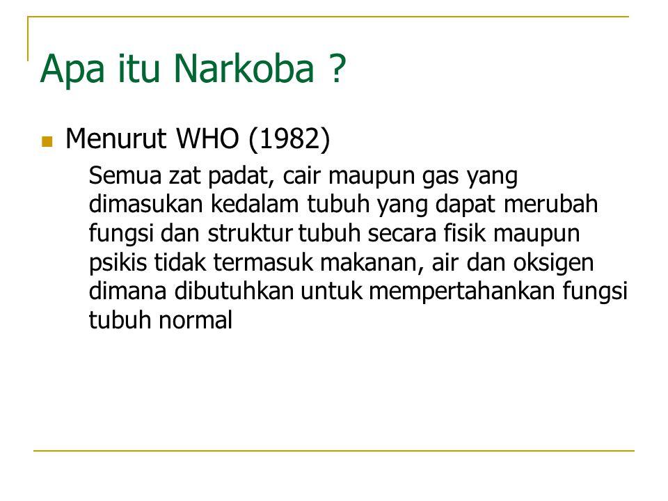 Apa itu Narkoba Menurut WHO (1982)