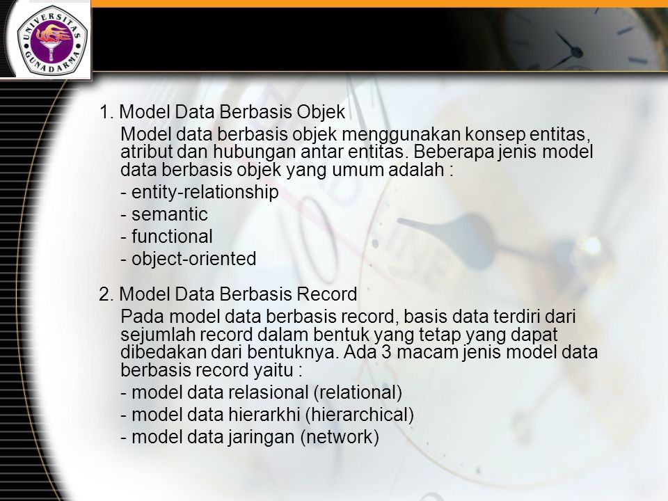 1. Model Data Berbasis Objek