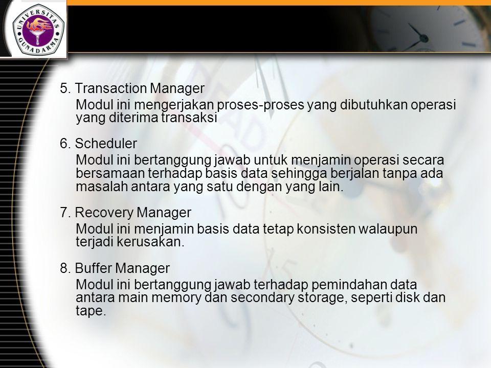 5. Transaction Manager Modul ini mengerjakan proses-proses yang dibutuhkan operasi yang diterima transaksi.