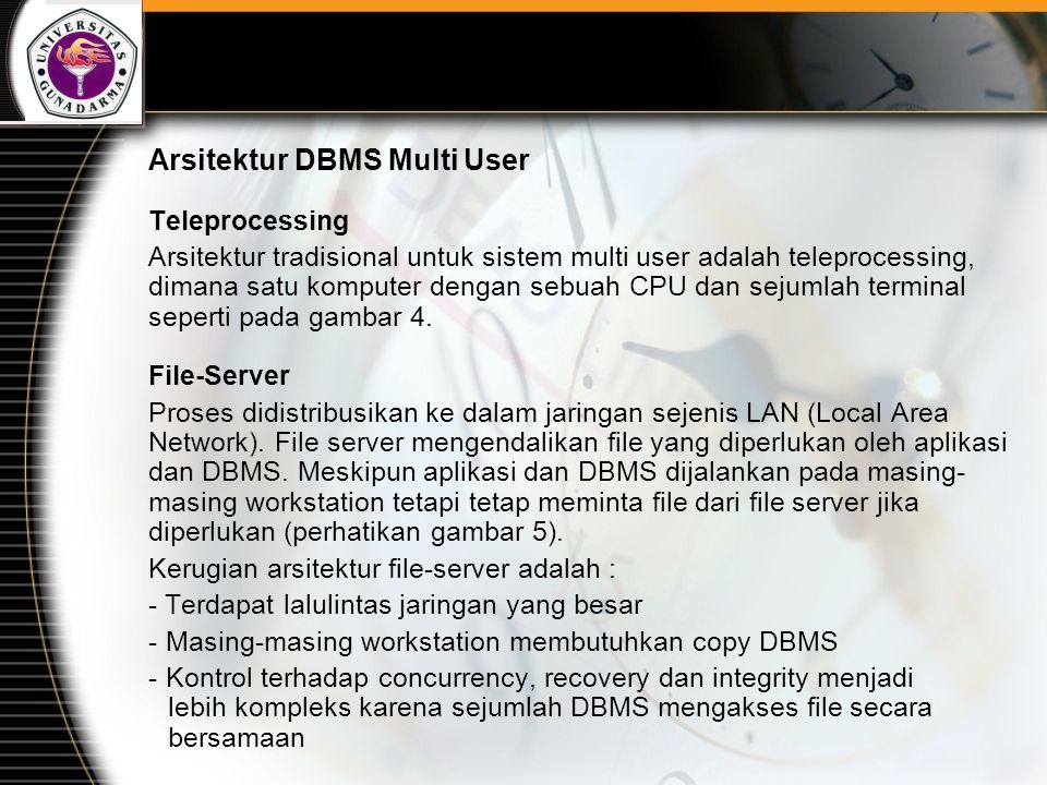 Arsitektur DBMS Multi User