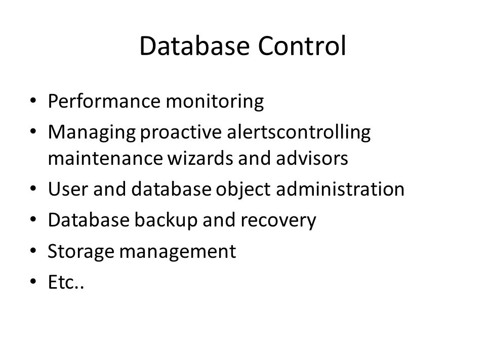 Database Control Performance monitoring
