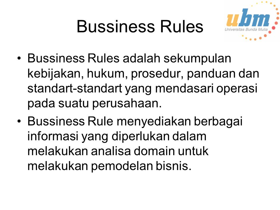 Bussiness Rules