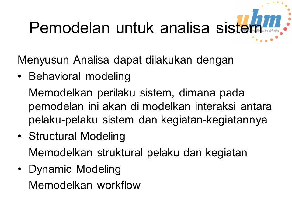 Pemodelan untuk analisa sistem