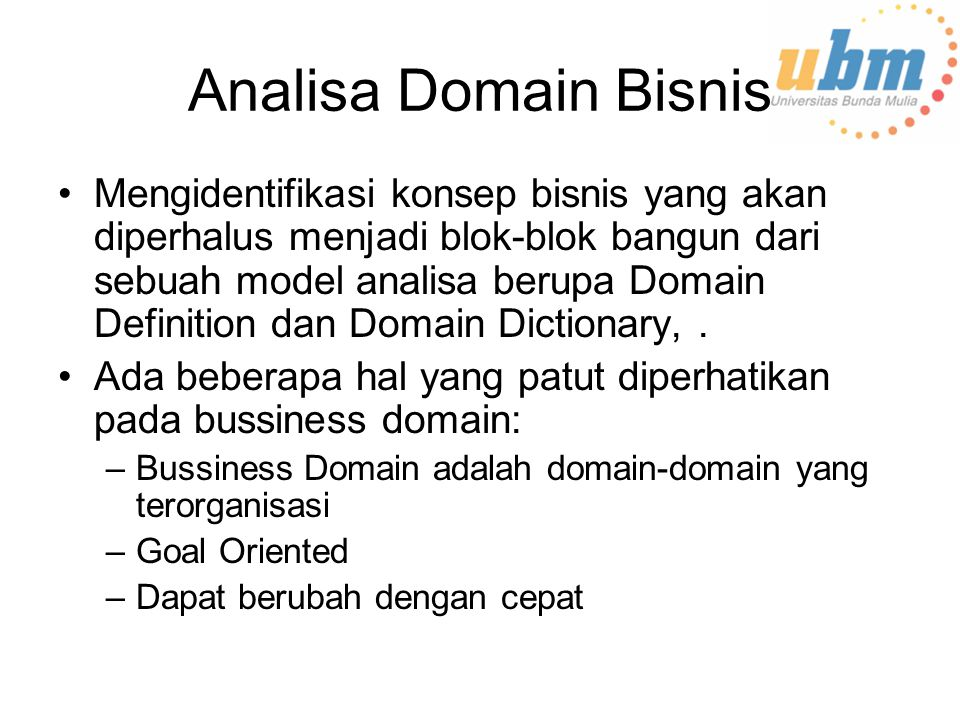 Analisa Domain Bisnis