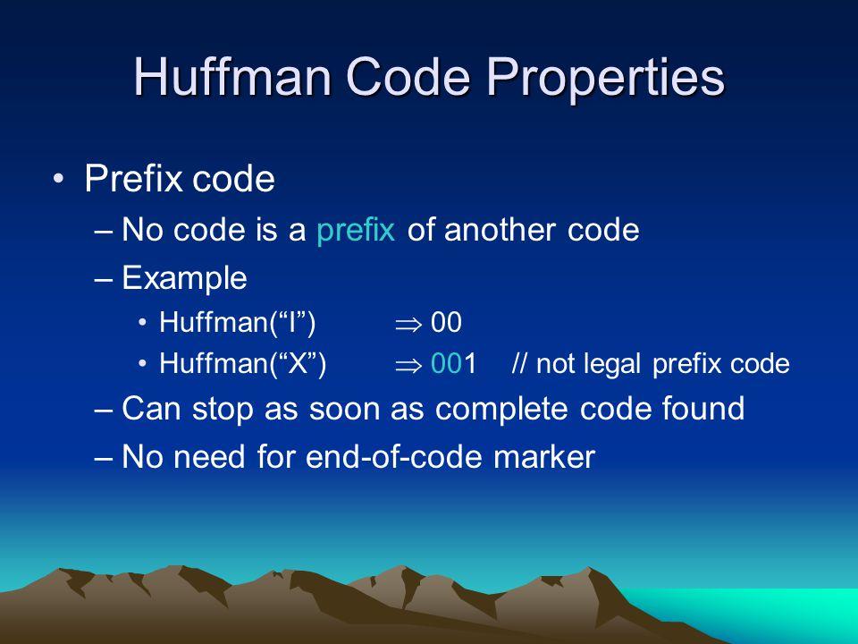 Huffman Code Properties