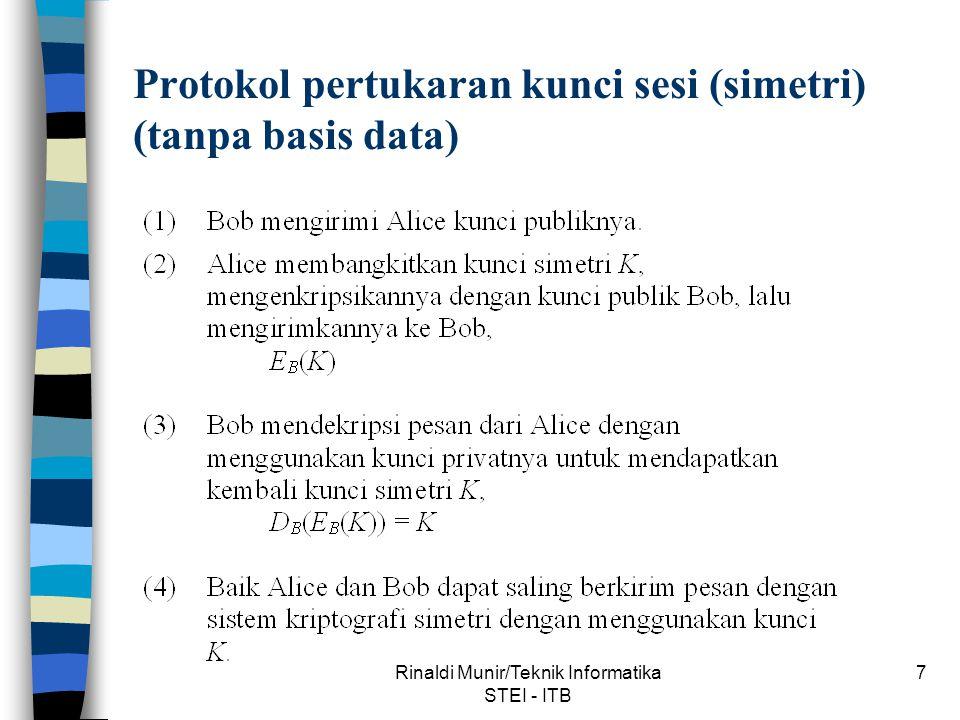 Protokol pertukaran kunci sesi (simetri) (tanpa basis data)