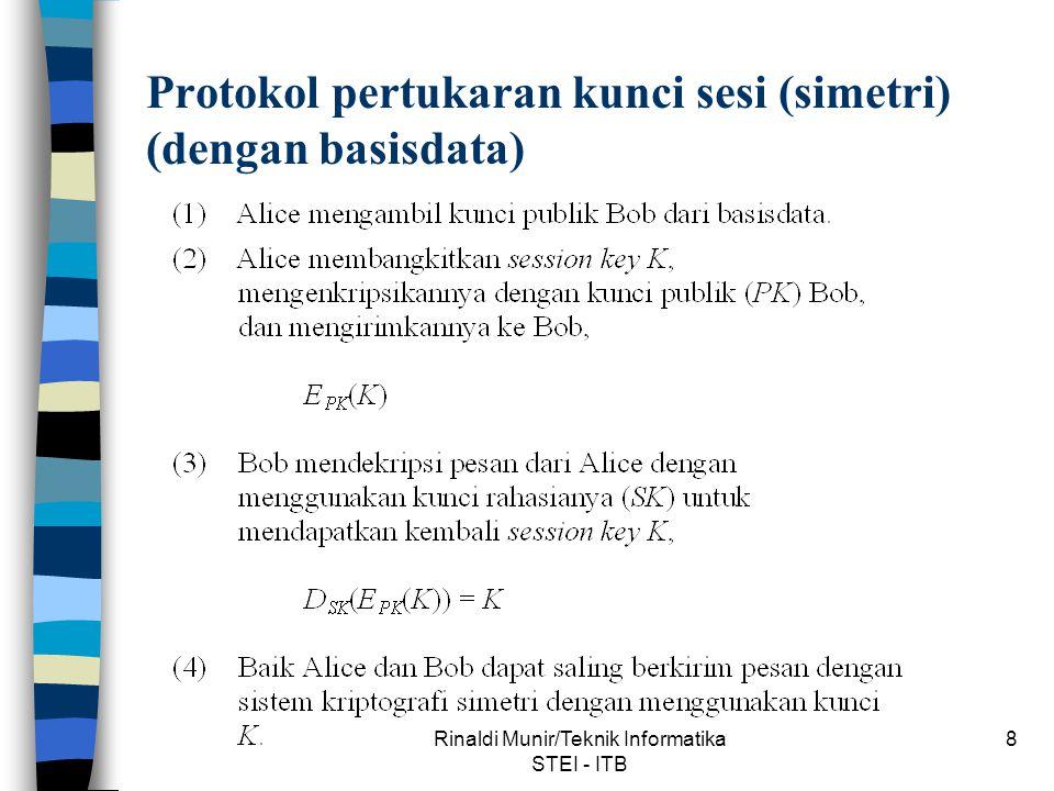 Protokol pertukaran kunci sesi (simetri) (dengan basisdata)