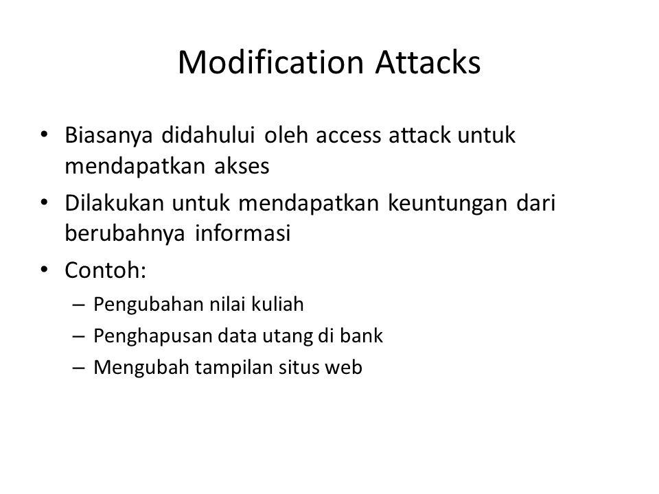 Modification Attacks Biasanya didahului oleh access attack untuk mendapatkan akses. Dilakukan untuk mendapatkan keuntungan dari berubahnya informasi.