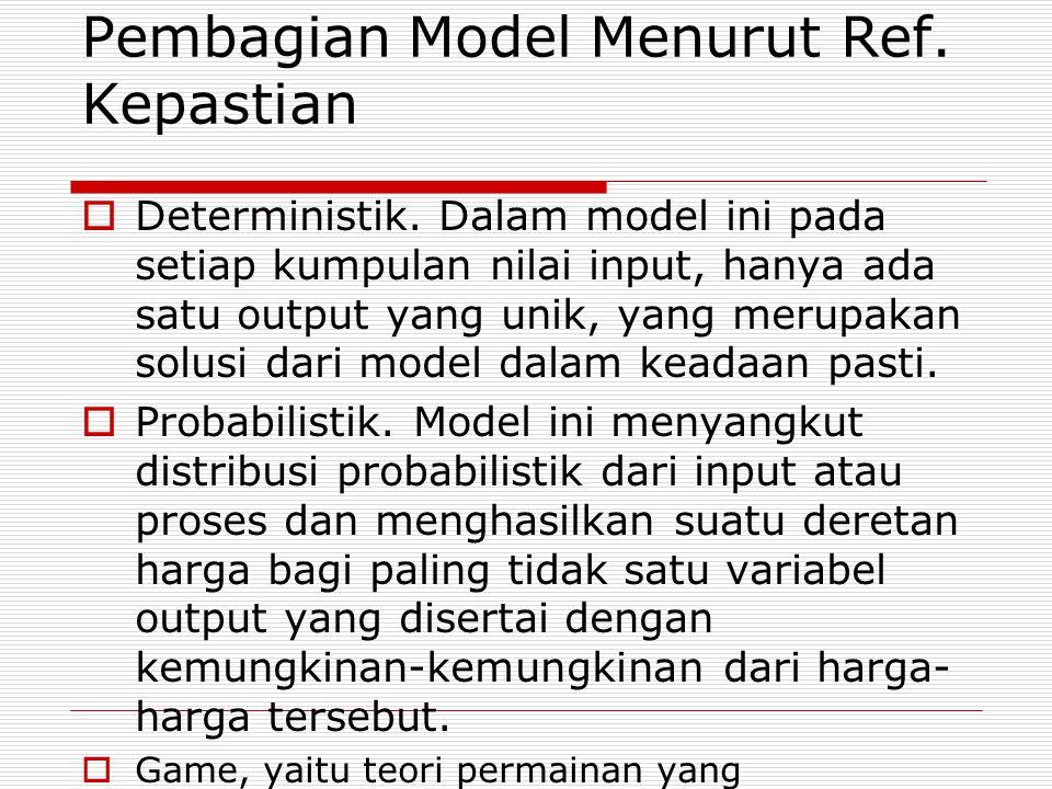 Pembagian Model Menurut Ref. Kepastian