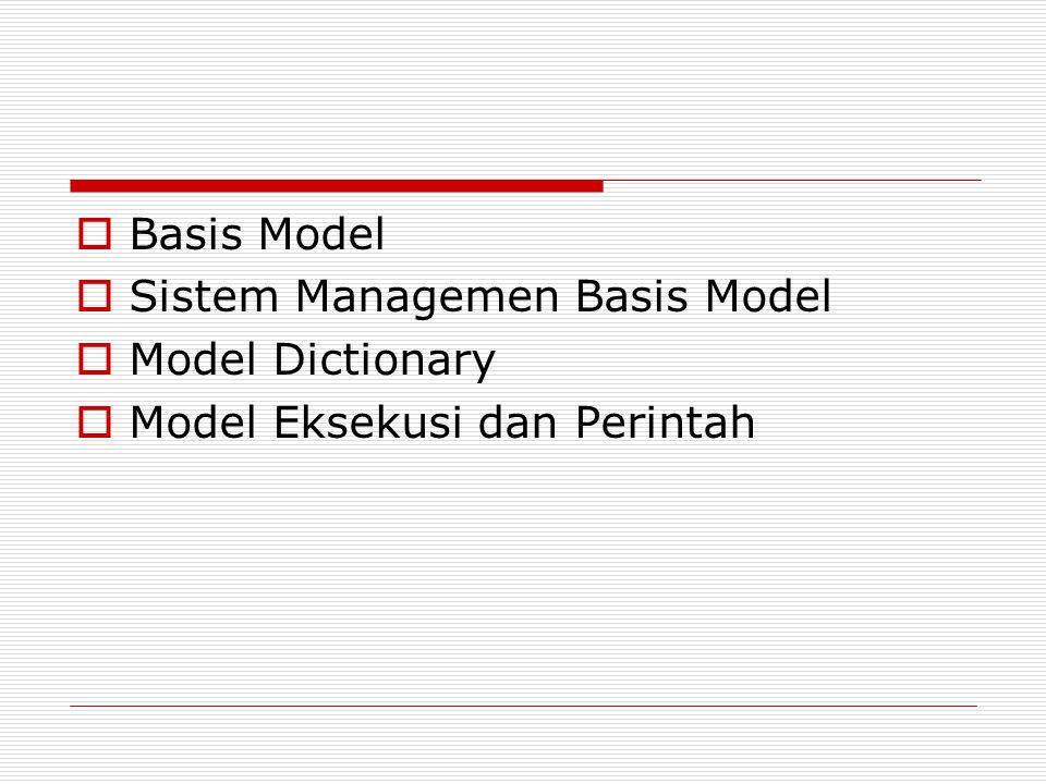 Basis Model Sistem Managemen Basis Model Model Dictionary Model Eksekusi dan Perintah