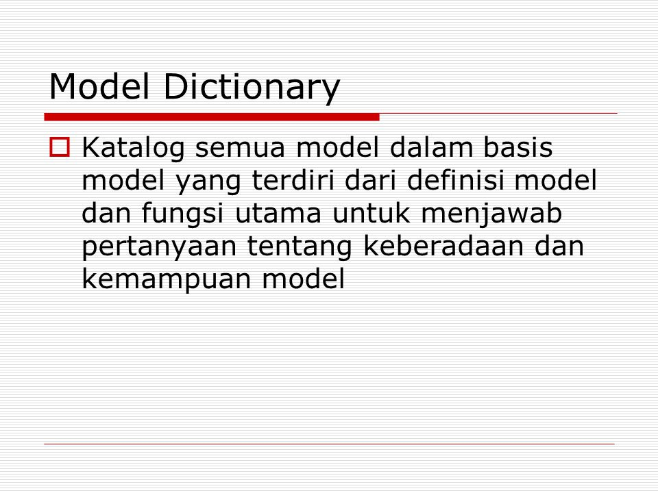 Model Dictionary
