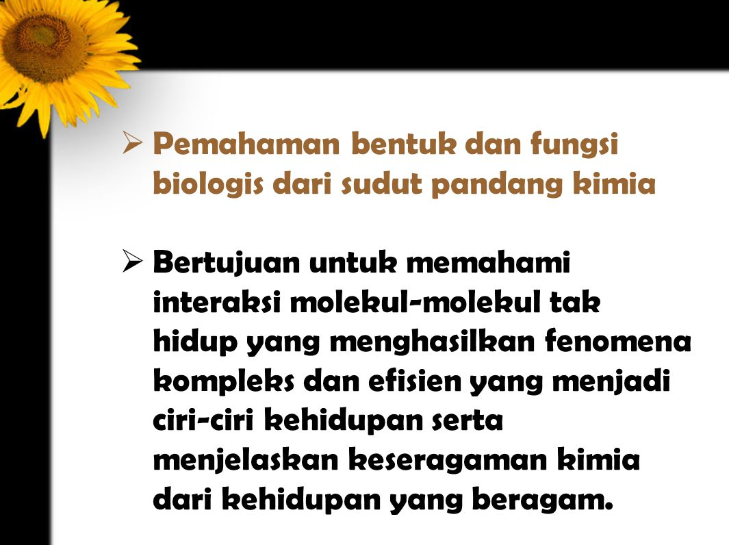 Pemahaman bentuk dan fungsi biologis dari sudut pandang kimia
