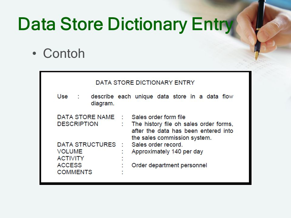 Data Store Dictionary Entry