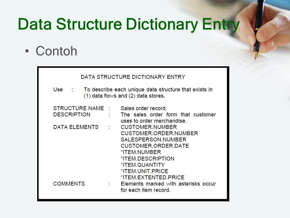 Data Structure Dictionary Entry